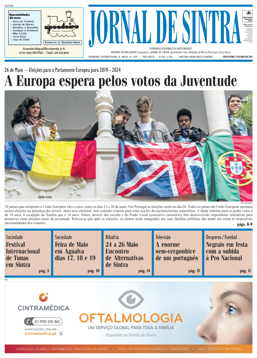 Capa da edição de 17/05/2019