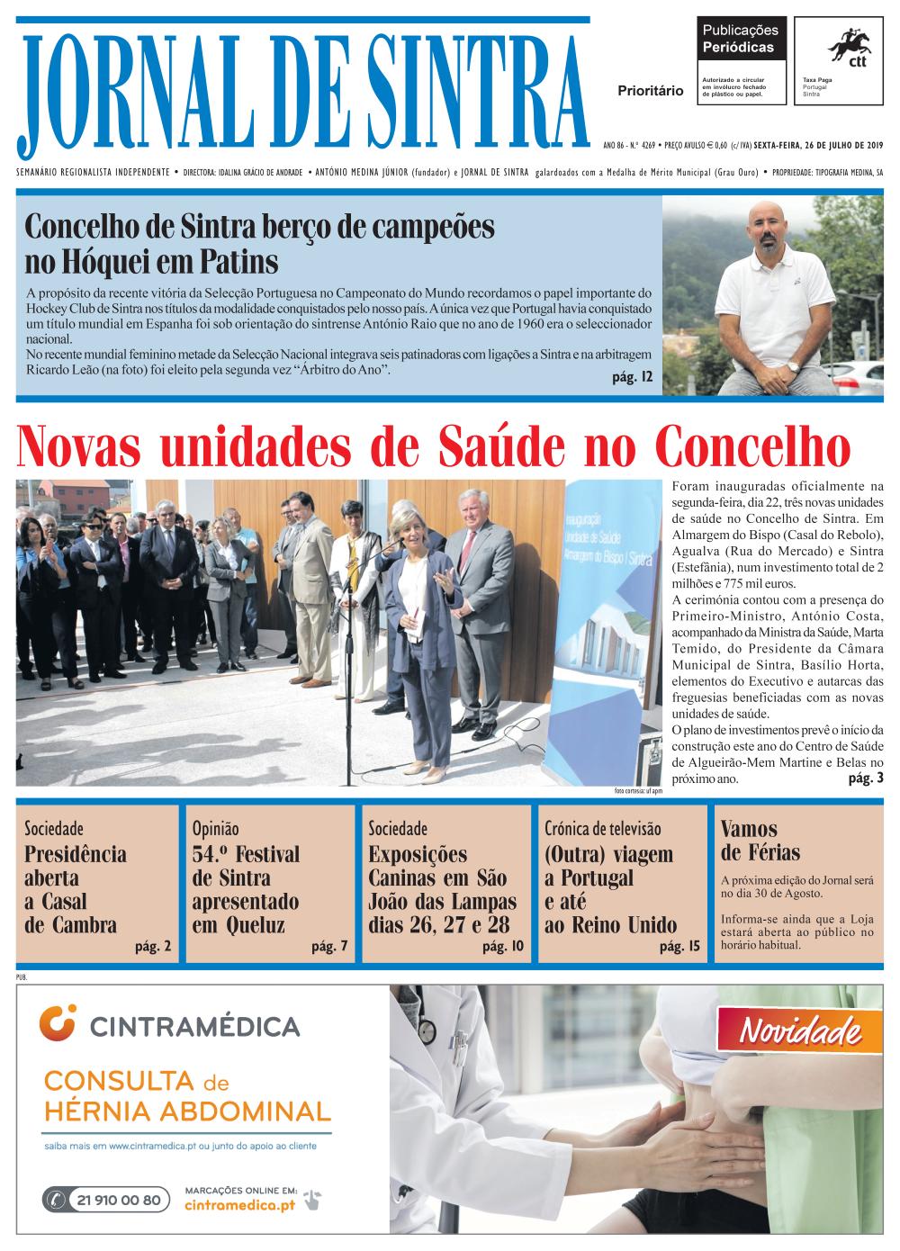 Capa da edição de 26/07/2019