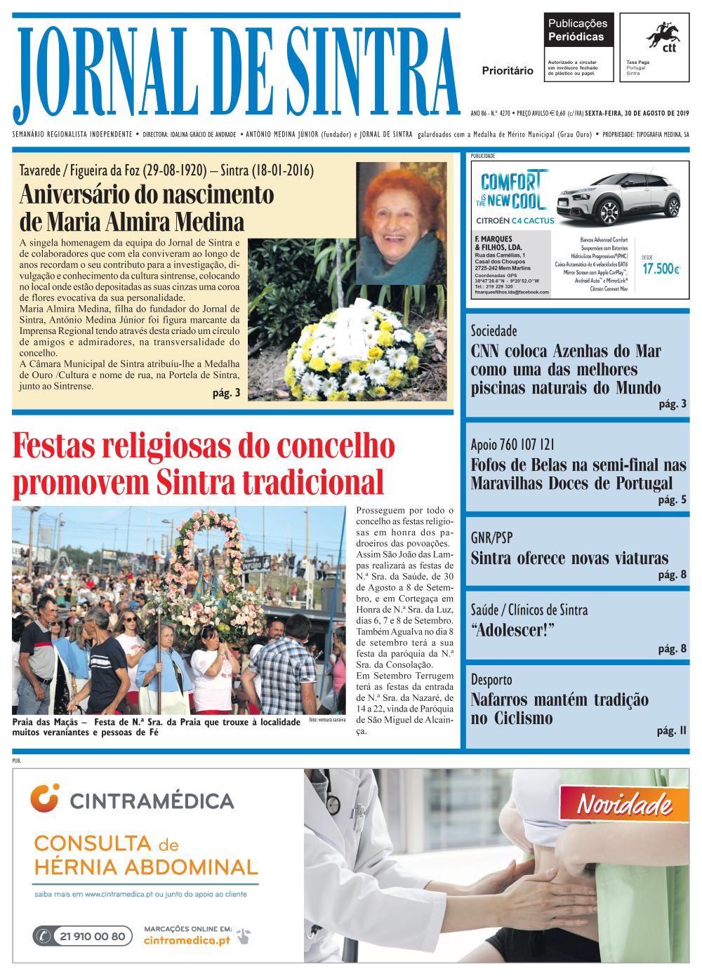 Capa da edição de 30/08/2019