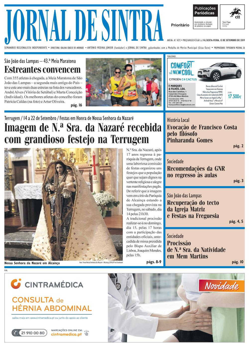 Capa da edição de 13/09/2019