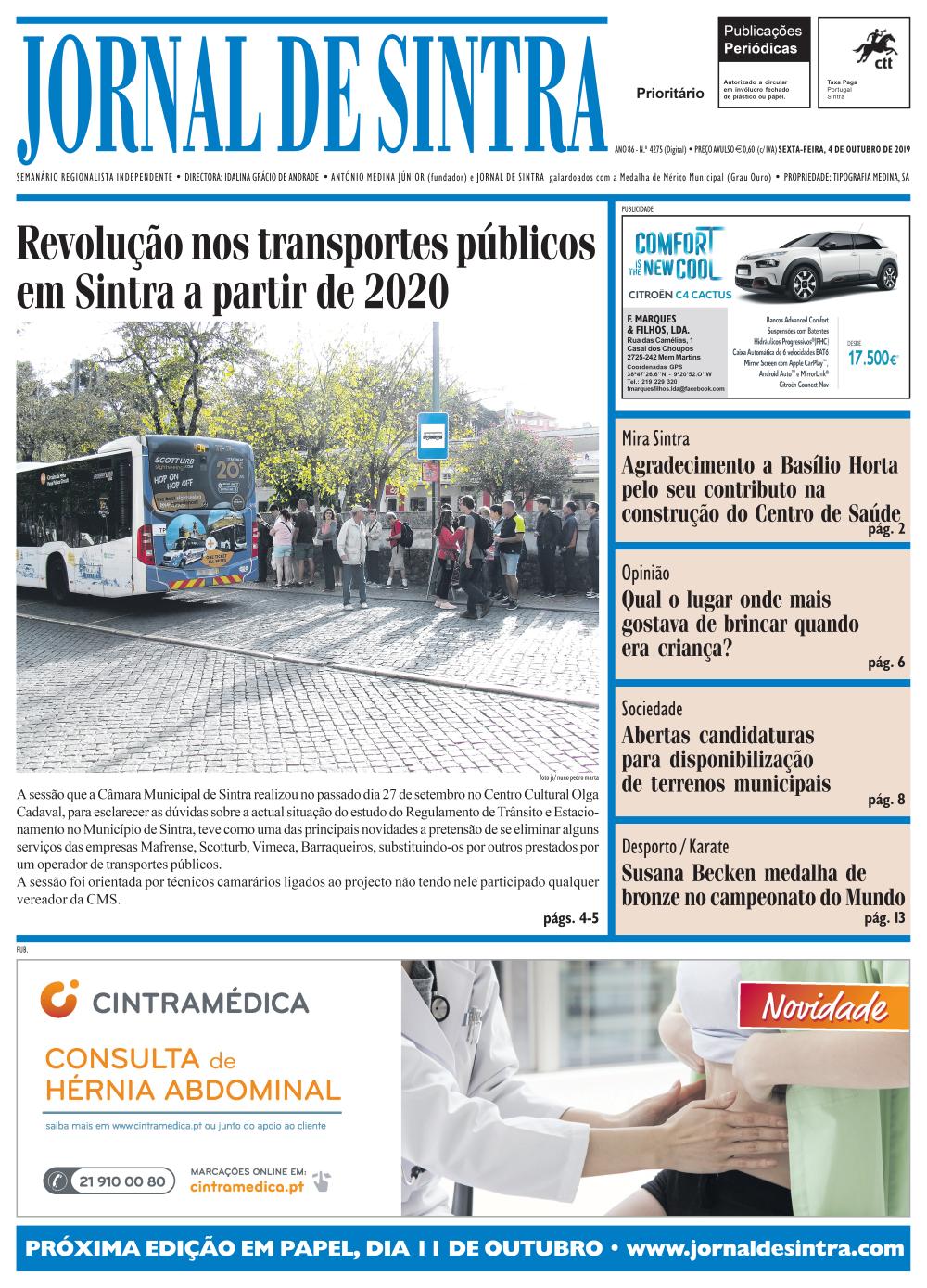 Capa da edição de 04/10/2019