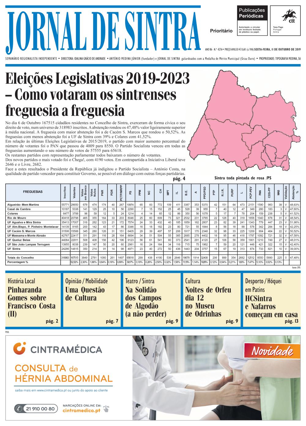 Capa da edição de 11/10/2019