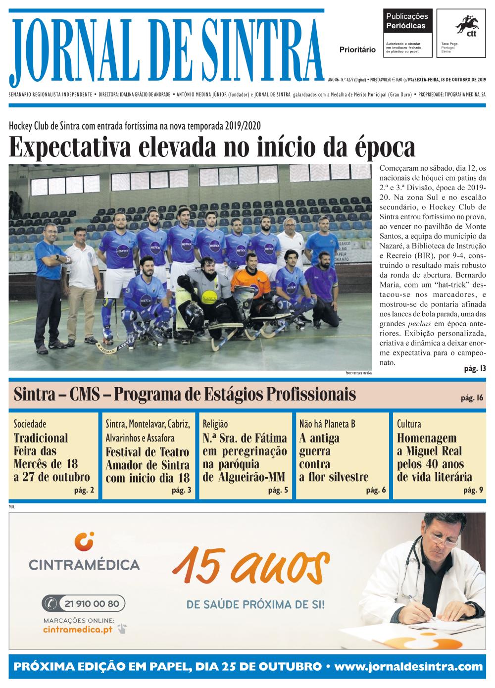 Capa da edição de 18/10/2019