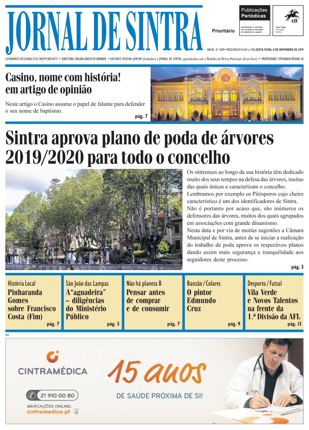 Capa da edição de 08/11/2019
