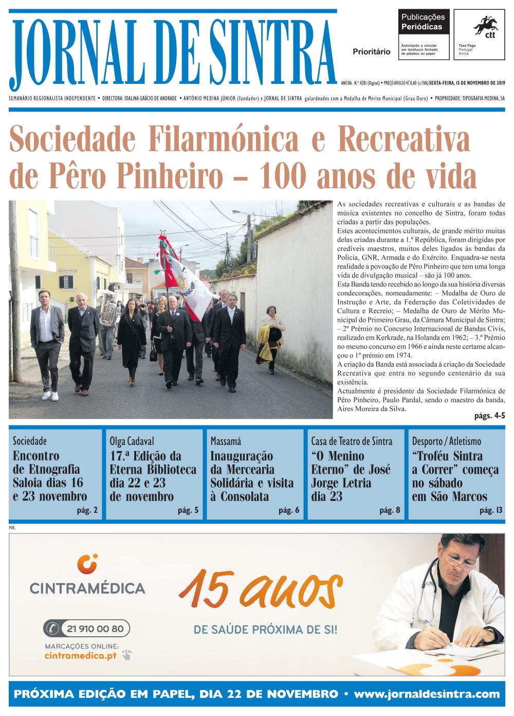 Capa da edição de 15/11/2019