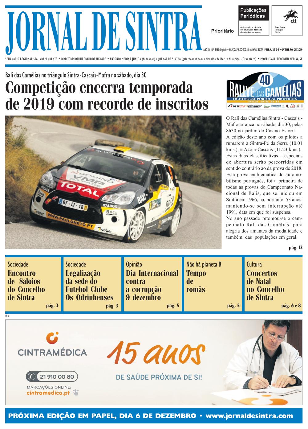 Capa da edição de 29/11/2019