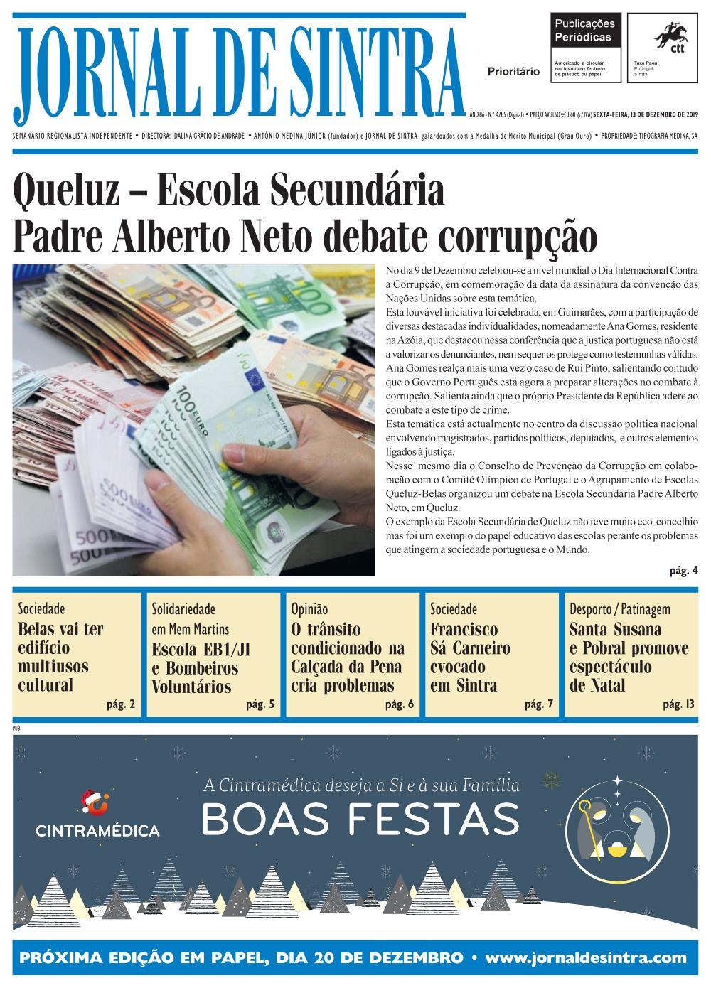 Capa da edição de 13/12/2019