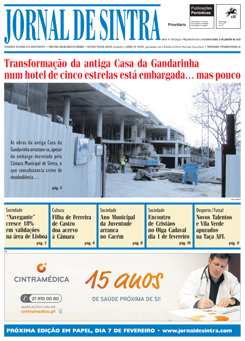 Capa da edição de 31/01/2020