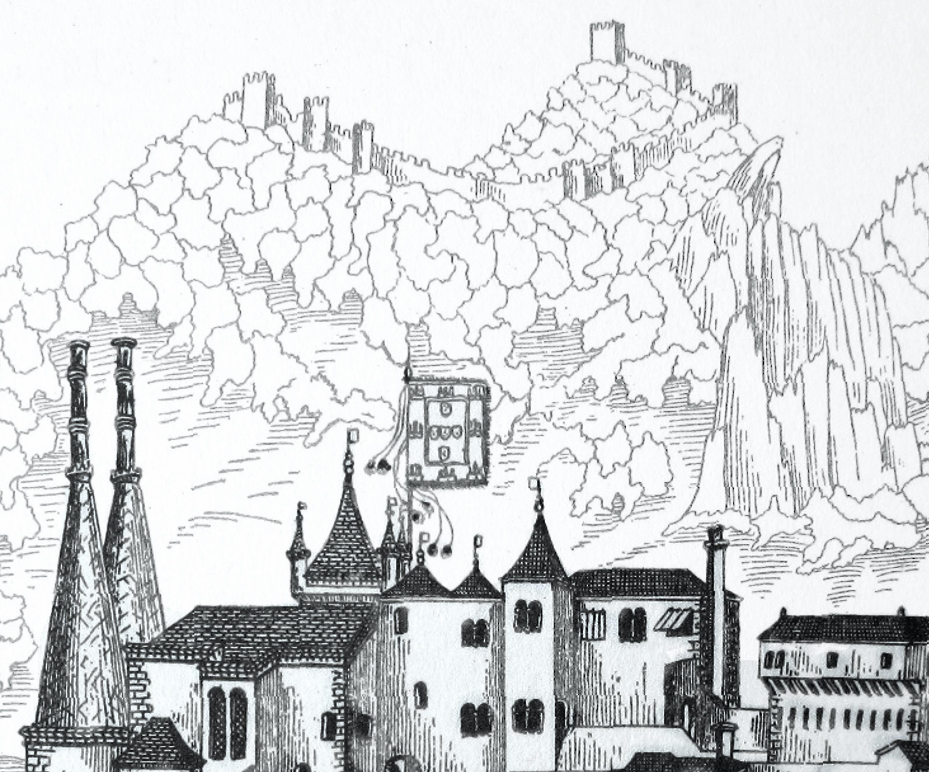 O Palácio da Vila no início dos anos de 1500, por Duarte d'Armas.