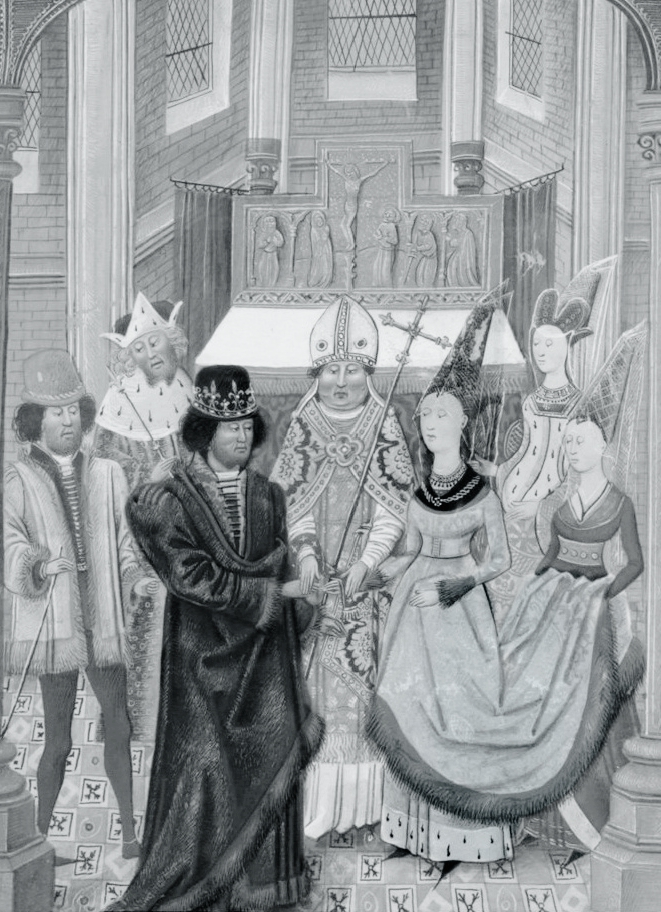 3.Casamento de D. João I com D. Filipa de Lancaster, em iluminura presente no manuscrito Chronique d'Angleterre, do século XV.