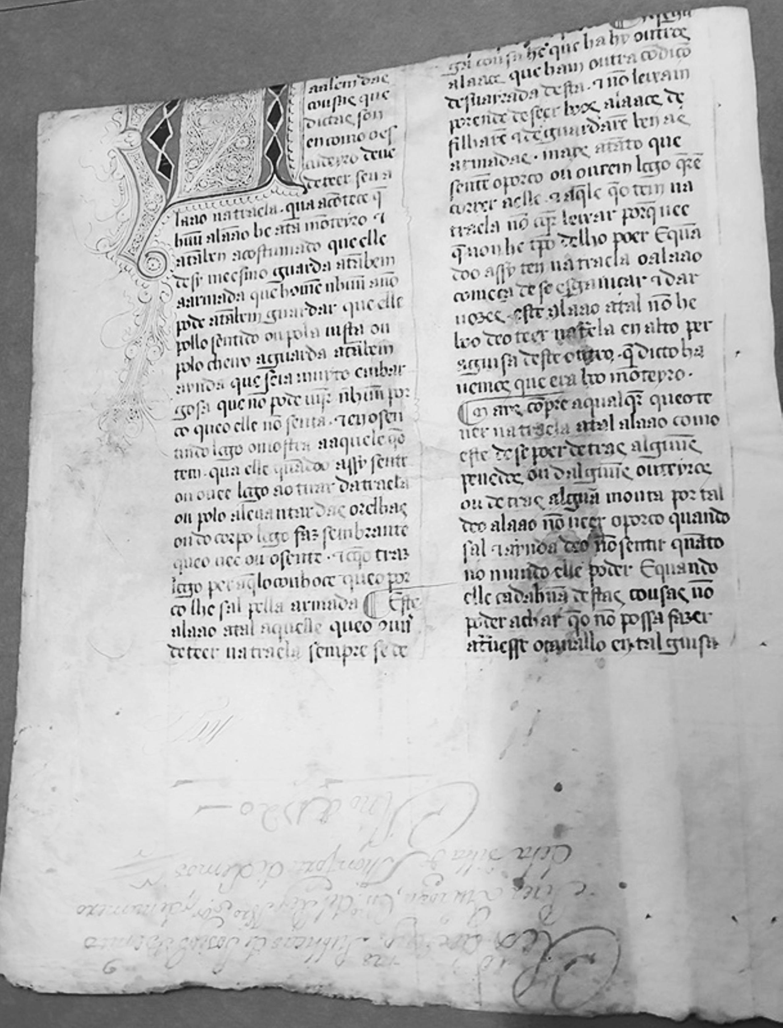 Folha do Livro da Montaria original, que havia sido roubada em 1995 e em 2014 foi devolvida ao Arquivo Provincial de Lugo (Galiza, Espanha). Imagem do Ministério da Cultura de Espanha