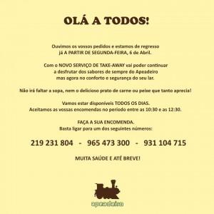 Restaurante Apeadeiro  – SERVIÇO DE TAKE-AWAY