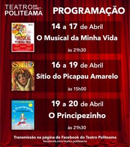 Programação do Teatro Politeama no Facebook