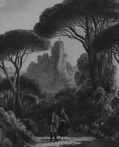 1.Ao fundo entre os pinheiros mansos, o Penedo dos Ovos encimado por uma cruz (em Penha Longa). Fragmento de gravura de William Burnett, década de 1830.